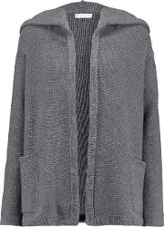 Woman Merino Wool And Cashmere Blend Hooded Cardigan Gray Size L