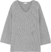 Woman Ribbed Merino Wool And Cashmere Blend Sweater Gray Size M
