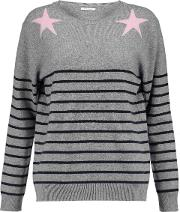 Woman Striped Intarsia Wool And Cashmere Blend Sweater Gray Size L