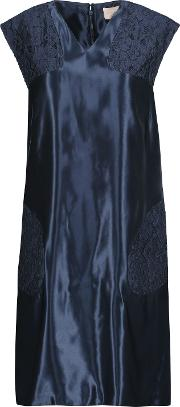 Woman Corded Lace Paneled Satin Mini Dress Midnight Blue