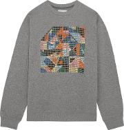 Woman Geometric Swarovski Crystal Embellished Jersey Sweatshirt Gray
