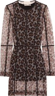 Woman Leopard Print Stretch Mesh Mini Dress Brown