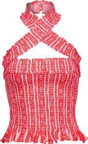 Woman Donya Shirred Printed Twill Halterneck Top Red Size Xl