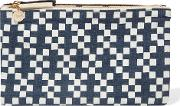 . Woman Printed Linen Canvas Clutch Navy