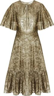 Woman Ruffled Metallic Velvet Dress Gold