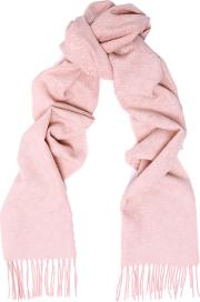 Fringed Jacquard Knit Wool And Cashmere Blend Scarf