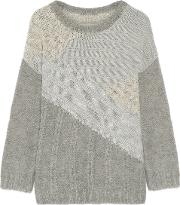 Woman The Mixed Metallic Cable Knit Sweater Gray Size 0