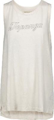 Woman The Muscle Tee Printed Cotton Blend Tank Off White Size 0