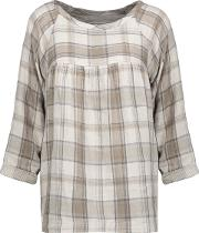 Woman The Shirred Gathered Checked Cotton Top Sand Size 1