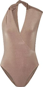 Woman Twisted Wrap Effect Stretch Jersey Bodysuit Copper