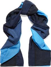 Woman Printed Cotton And Silk Blend Scarf Blue Size