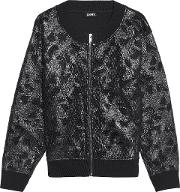 Woman Jersey And Appliqued Mesh Jacket Black