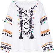 Woman Embellished Embroidered Cotton Gauze Top White Size M