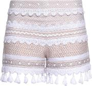 Woman Embellished Lace Trimmed Cotton Jacquard Shorts Beige