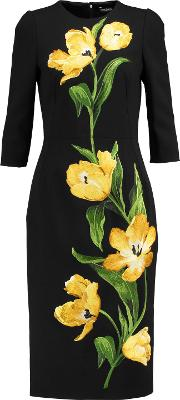 Embroidered Wool Blend Crepe Dress