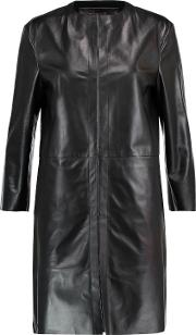 Woman Leather Coat Black Size Xs