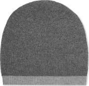 Two Tone Ribbed Wool And Cashmere Blend Beanie