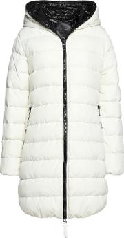 Woman Ace Quilted Shell Hooded Jacket Ecru