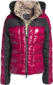 Woman Panelled Quilted Shell Down Coat Burgundy Size 38