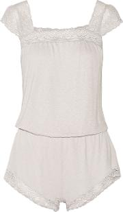 Woman Cecilia Lace Trimmed Stretch Jersey Playsuit Gray