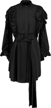 Woman Bling Ring Ruffle Trimmed Silk Blend Blouse Black