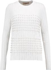 Woman Faux Pearl Embellished Knitted Sweater White Size L