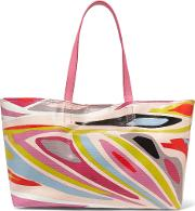 Woman Leather Trimmed Printed Coated Canvas Tote