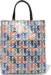 Woman Leather Trimmed Printed Coated Canvas Tote White