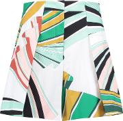 Woman Pleated Printed Cotton Blend Shorts Multicolor Size 38