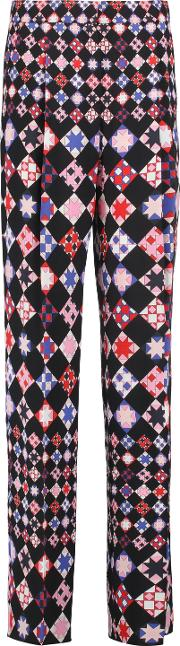 Woman Printed Crepe Wide Leg Pants Pink Size 44
