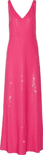 Woman Sequined Silk Chiffon Gown Bright Pink Size 46