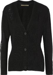 Woman Distressed Wool And Cashmere Blend Cardigan Black Size M