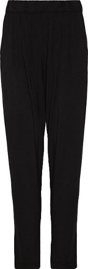 Woman Easy Pleated Stretch Jersey Track Pants Black