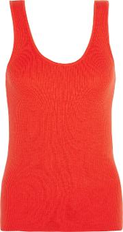Woman Miller Ribbed Cotton, Silk And Cashmere Blend Tank Orange Size L