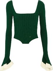 Woman Cropped Ribbed Knit Top Green Size Xl