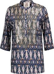 Woman Jasmine Sequin Embellished Printed Cotton Broadcloth Tunic Midnight Blue Size M