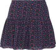 Woman Lucette Pleated Printed Cotton Blend Broadcloth Mini Skirt Violet Size Xs