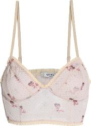 Ruffle Trimmed Printed Crepe Bustier