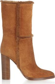 Woman Shearling Trimmed Suede Boots Camel Size 34
