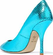 Woman Metallic Snake Effect Leather Pumps Turquoise Size 38