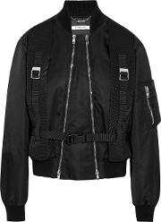 Woman Canvas Trimmed Shell Bomber Jacket Black Size 40