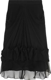 Woman Ruched And Draped Silk Chiffon Skirt Black Size 38
