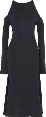 Goen.j Woman Faux Pearl Embellished Cold Shoulder Knitted Midi Dress Midnight Blue