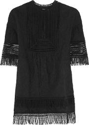 Goen.j Woman Fringed Embroidered Cotton Top Black Size S