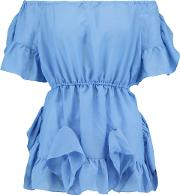 Goen.j Woman Off The Shoulder Ruffled Voile Top Blue Size L