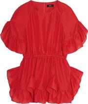 Goen.j Woman Ruffled Crepe Top Red Size S