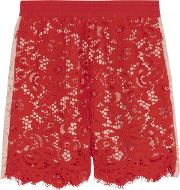 Goen.j Woman Two Tone Corded Lace Shorts Red Size L