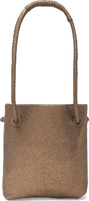 Metallic Suede Bucket Bag