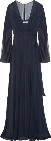 Woman Crinkled Chiffon Wrap Gown Navy Size 0