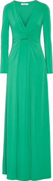 Woman Draped Stretch Jersey Gown Jade